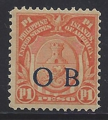 """piob251f3. Philippines 251 variety with Dark Blue Constabulary """"OB"""" Overprint. Unused, OG, F-VF. Very Scarce Peso Value Dark Blue Bandholtz """"OB"""" Overprint, only 70 issued!"""