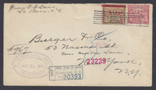 cz014o5. Canal Zone 14 & 10 on Registered cover LA BOCA 5-31-1906 to US. Scarce & Attractive Postal History item!!