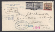 cz019o3. Canal Zone 19 & 16 pair on Registered cover ANCON STA. A 5-5-1906 to US. Scarce & Attractive Postal History item!!
