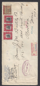 cz020o3. Canal Zone 20 & 23 single & pair on Registered cover with FX-CZ1 label STA. A ANCON 11-23-1906 to US. Very Scarce Registry label on Attractive Postal History item!!