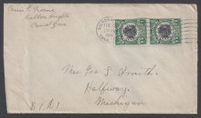 cz046h3. Canal Zone 46 pair on cover Balboa Heights 2-15-16 to US. Scarce pair on cover.