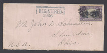cz049b5. Canal Zone 49 Registered cover ANCON 11-5-1921 to U.S. Attractive solo usage!