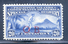 "piobe2d3. Philippines 20c Special Delivery E2 with Red Constabulary ""OB"" Overprint. Unused, OG, Very Fine with paper adhering. Scarce Red ""Bandholtz OB"" Overprint Only 250 issued!"