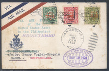 pif030b. PHILIPPINES REGISTERED FFC #30b (old #20gg) SAN JOSE 11-18-28 TO MANILA & SWITZERLAND 12-17. VERY SCARCE US ARMY EXPERIMENTAL FLIGHT, ONLY 13 COVERS CARRIED!