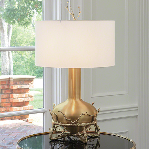 ... Fat Brass Twig Table Lamp. Image 1
