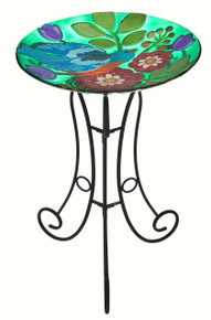 Bird and Blossoms Glass Birdbath Set