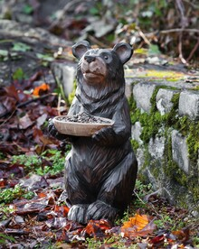 Bear Statue with Birdfeeder