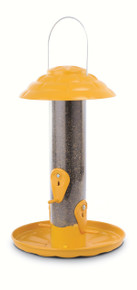 12 inch Tube Finch Feeder with Tray and Cap (Yellow)