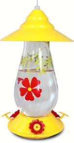 Painted Flowers Glass Hummingbird Feeder