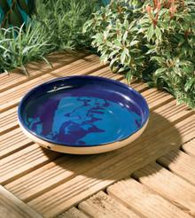 Mini Glazed Bird Bath Blue