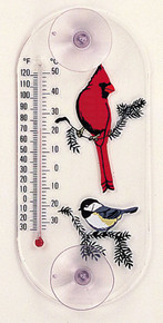Cardinal/Chickadee Window Thermometer