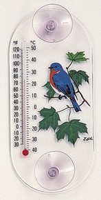 Bluebird Maple Window Thermometer
