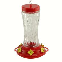 16 oz Swirl Glass Hummingbird Feeder