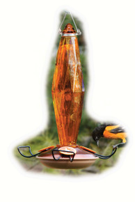 Oriole Feeder Cut Glass Amber