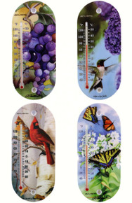 8 inch Suction Cup Thermometer Bird Nature Themed 4 assorted designs