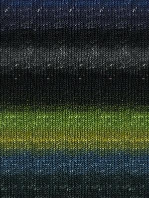 Noro #252 Black, Lime, Blue Silk Garden Sock Yarn (1 - Super Fine)
