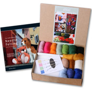 Felting Wool Needle Felting Starter Kit (Incl. 4 Needles, Fibre, Foam Block, The Ashford Book Of Needle Felting)