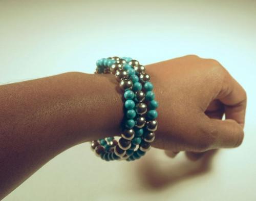 Wrap Bracelet {teal/silver}
