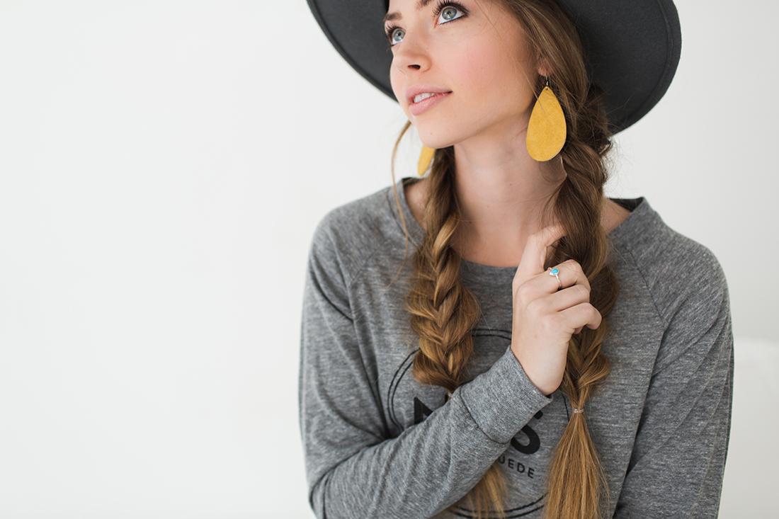 Gray Hat Sunflower Suede