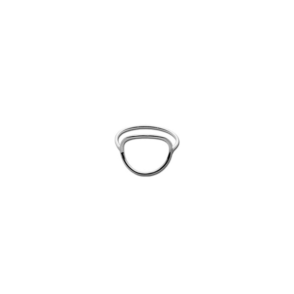 Open Circle Silver Ring Nickel and Suede