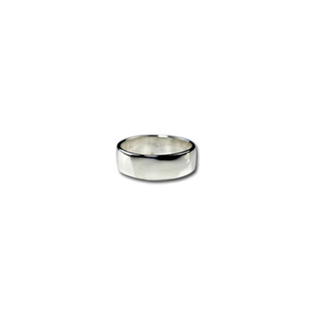 6 mm Silver Band Ring Nickel and Suede