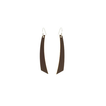 Chocolate Accent Nickel and Suede Leather Earrings