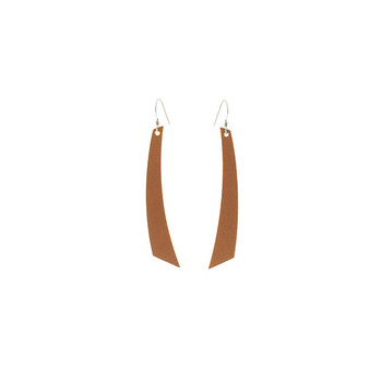 London Tan Accent Nickel and Suede Leather Earrings