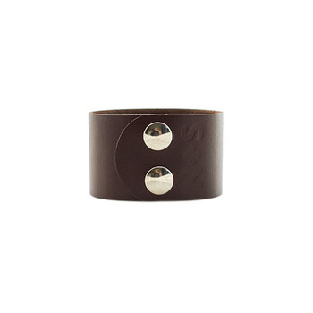 Chocolate Wide Leather Cuff Nickel and Suede