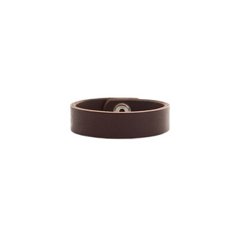 Chocolate Thin Leather Cuff Nickel and Suede