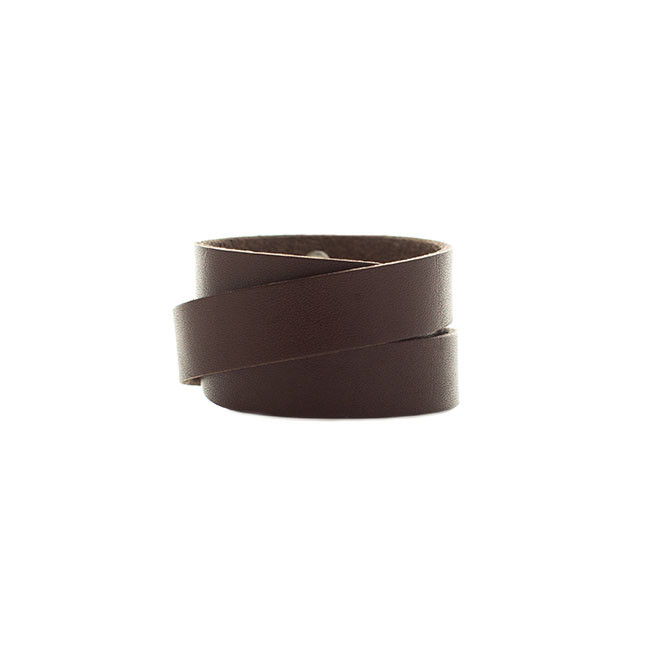 Chocolate Wrap Leather Cuff Nickel and Suede
