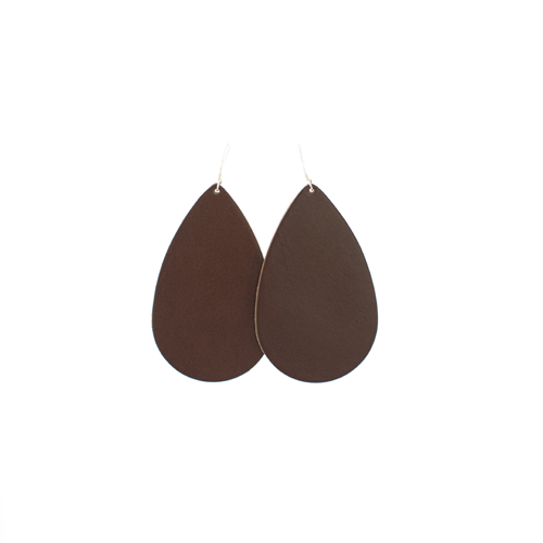Chocolate Nickel and Suede Leather Earrings