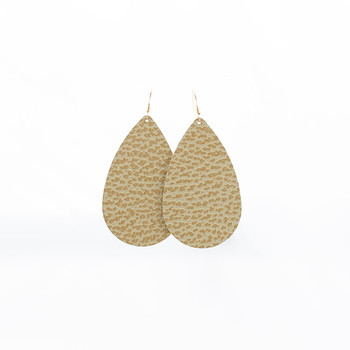 Metallic Gold Leather Earrings Nickel and Suede