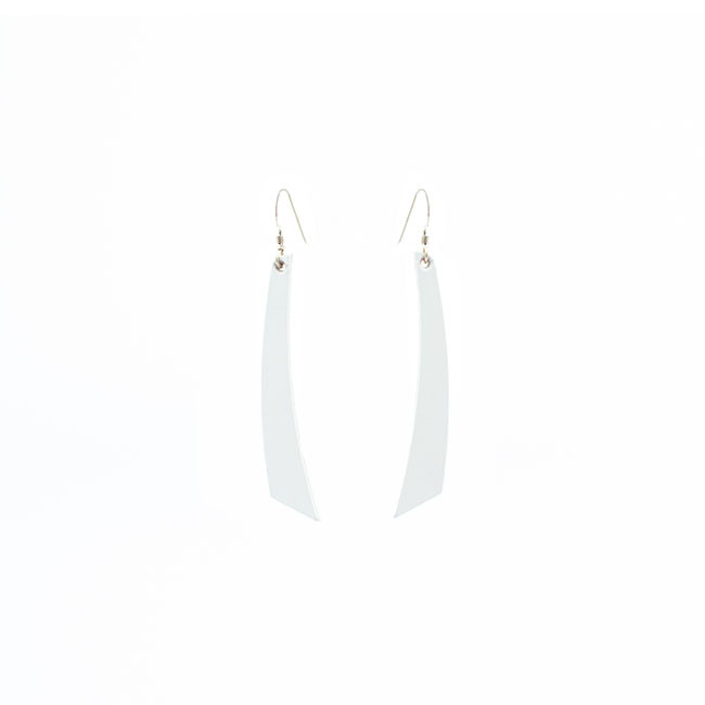 Select White Accent Nickel and Suede Leather Earrings