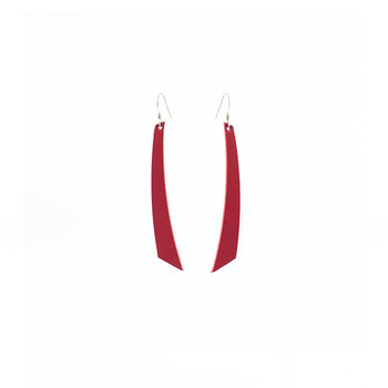 Select Red Accent Nickel and Suede Leather Earrings