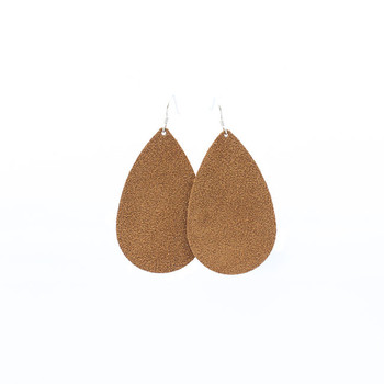 Camel Suede Leather Earrings Nickel and Suede