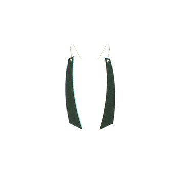 N&S Select Green Accent Leather Earrings