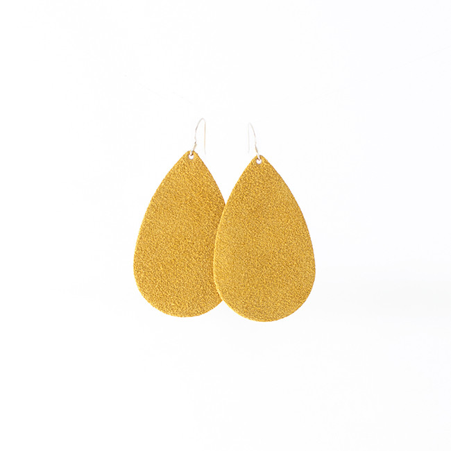 Sunflower Suede  Leather Earrings Nickel and Suede