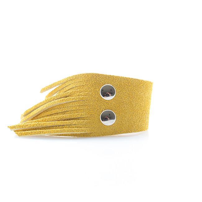 Sunflower Suede Fringe Cuff Nickel and Suede