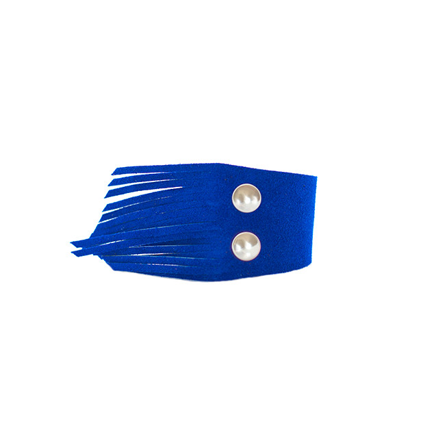 Royal Blue Suede Fringe Leather Cuff Nickel and Suede