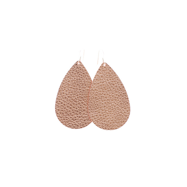 Rose Gold Leather Earrings Nickel and Suede