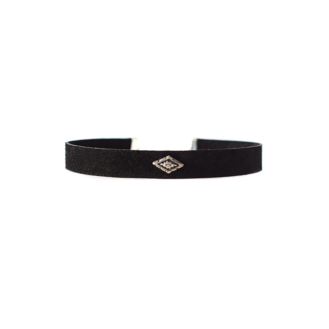 Desert Black Suede Leather Choker Nickel and Suede