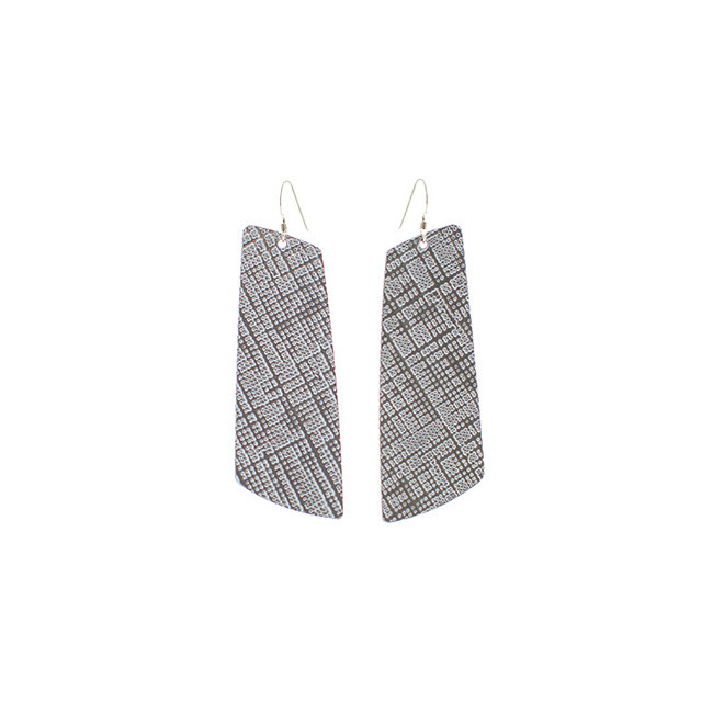 Etched Silver Leather Earrings Nickel and Suede
