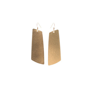 Signature Gold Gem Leather Earrings Nickel and Suede