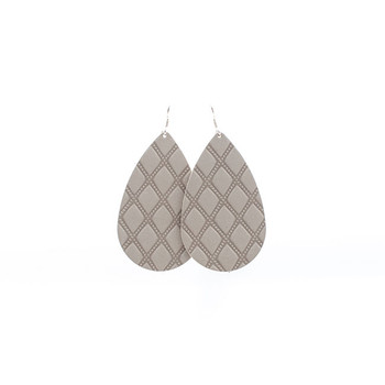 Gray Mosaic Leather Earrings Nickel and Suede