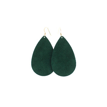 Emerald Suede Leather Earrings