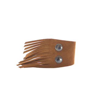 Camel Suede Finge Cuff Nickel and Suede