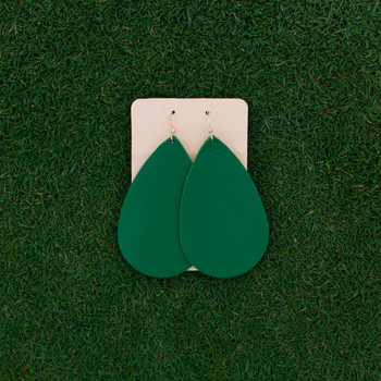 TEAM Green Nickel and Suede Leather Earrings