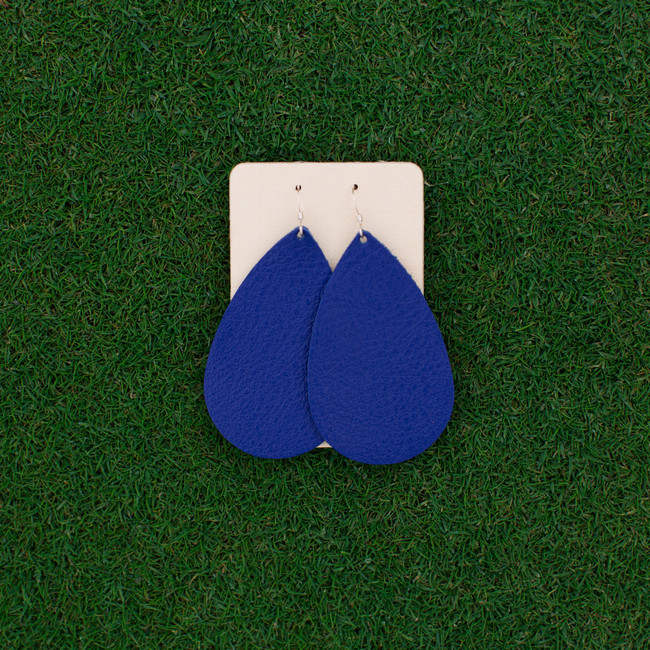 TEAM Blue Nickel and Suede Leather Earrings