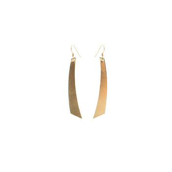 N&S Signature Gold Accent Nickel and Suede Leather Earrings