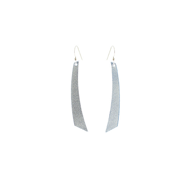 N&S Signature Silver Accent Nickel and Suede Leather Earrings